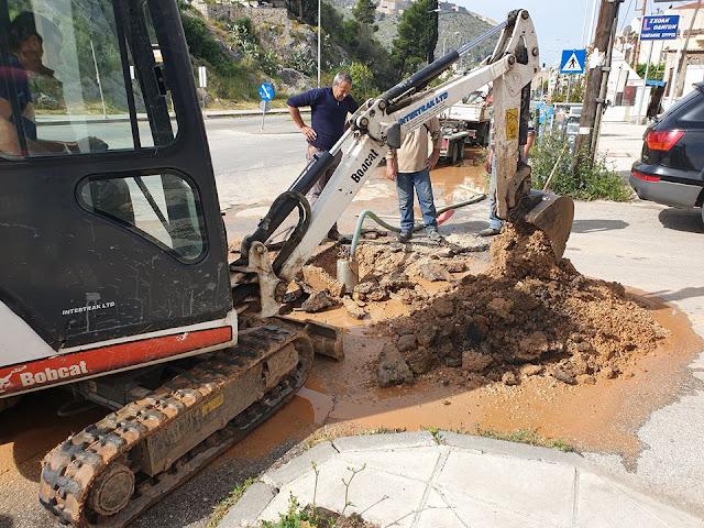 Ναύπλιο: Άμεση αποκατάσταση βλάβης στην υδροδότηση