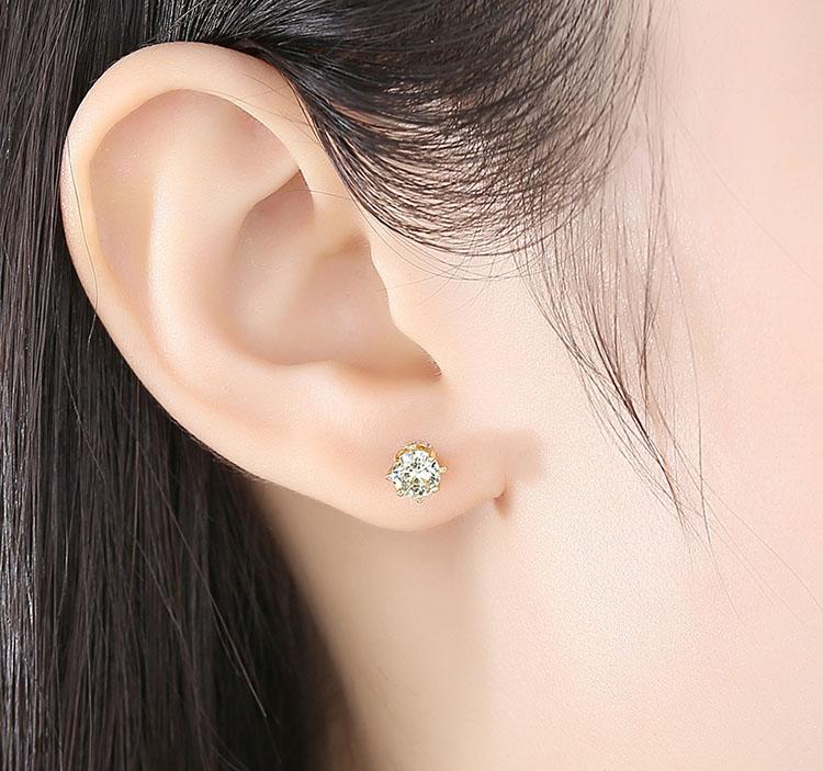 綠鋯石皇冠單鑽式耳環