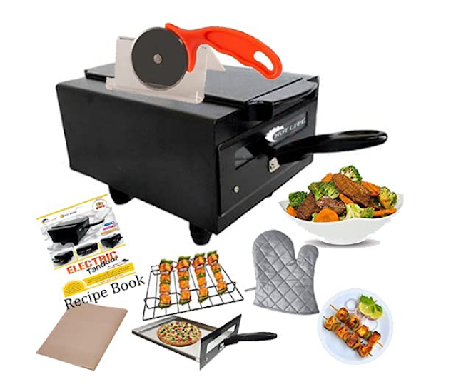 """HOTLIFE Small Stylish Looking 1500W"""", 10 inches"""" Electric tandoor (Black) with Pizza Cutter Magic Cloth Aluminum Tray Shock Proof Rubber Legs Recipe Book Grill Stand skewers"""