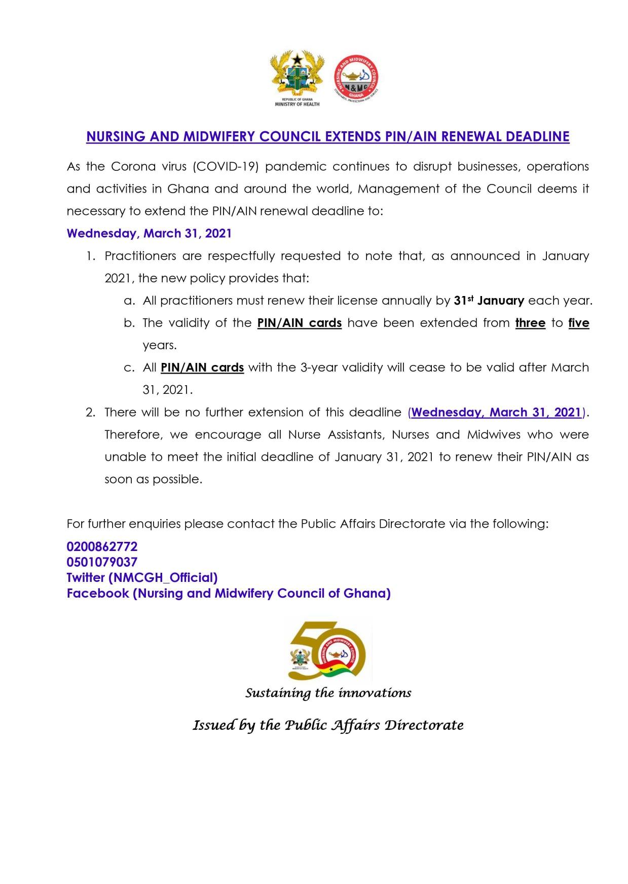 NMC Ghana PIN & AIN Renewal Guidelines & Deadline 2021