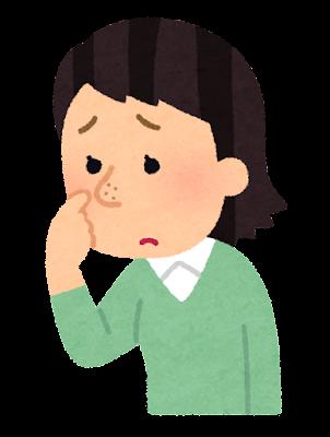 鼻の毛穴を気にする人のイラスト(女性)