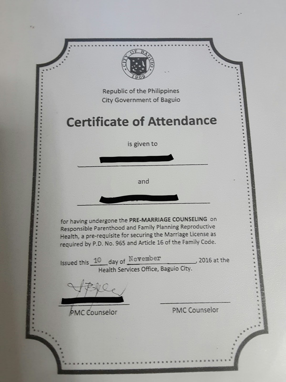 Baguio city marriage license application youll be issued a certificate of attendance once completed please plan ahead of time as the seminar is only scheduled during tuesdays and thursdays altavistaventures Choice Image