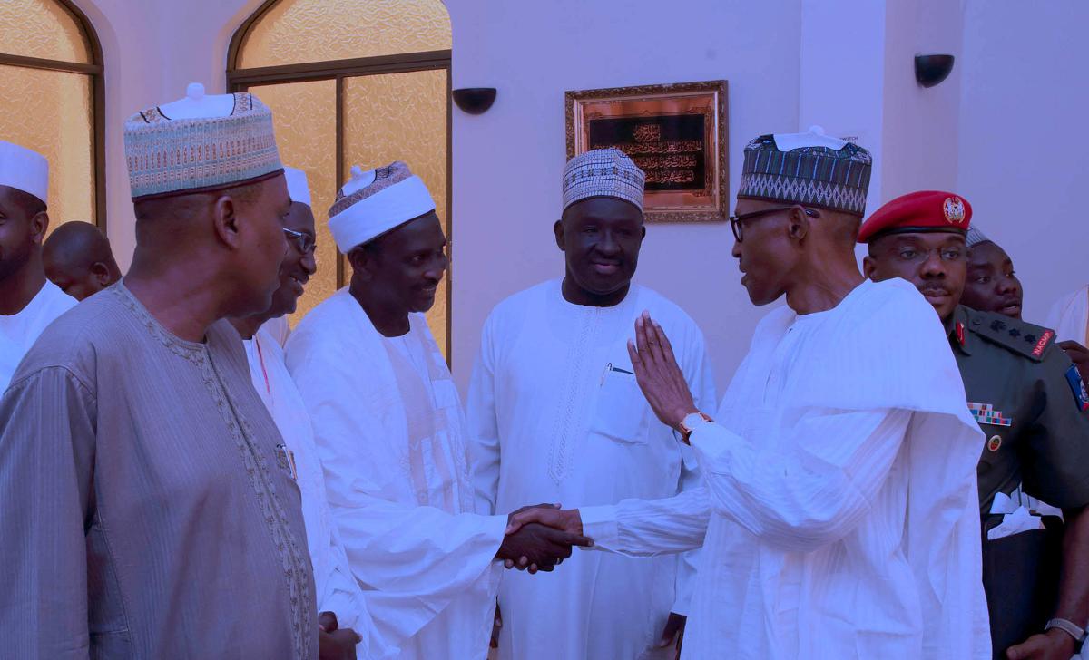 Magu, DSS DG shake hands at Aso Rock mosque (PHOTOS) 5