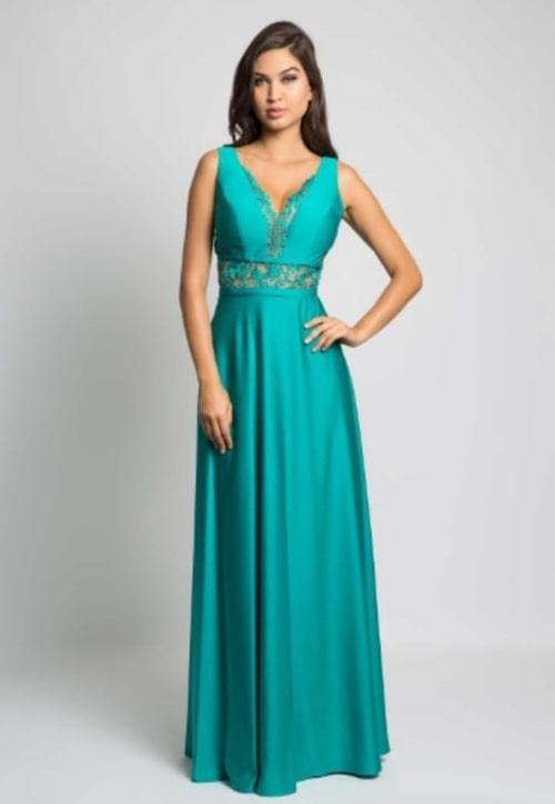 vestido de festa longo verde para casamento durante o dia