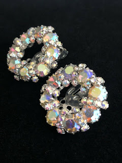 Vintage SIGNED WEISS Aurora Borealis Austrian Crystal Rhinestone Clip Earrings