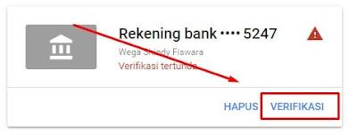 Memverifikasi Rekening Bank Google AdSense