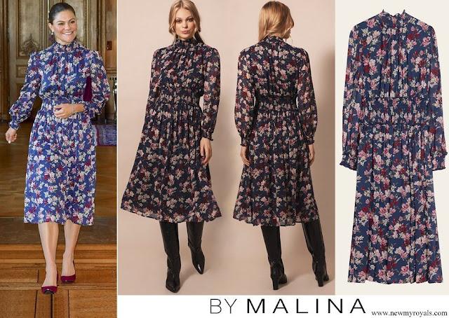 Crown Princess Victoria wore By Malina Sadie dress, magnolia indigo dress