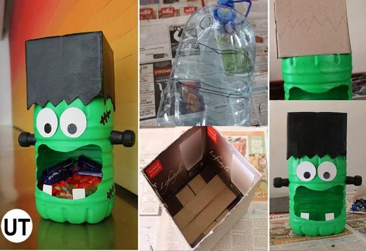 Sugestões de artesanato para Halloween reciclados Artesanatos Reciclagem # Decoração De Halloween Com Materiais Reciclados