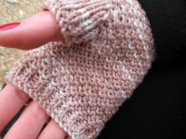 zomme point mousse pour des mitaines en tricot