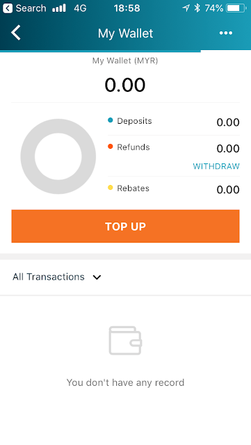 Lazada ewallet - home screen
