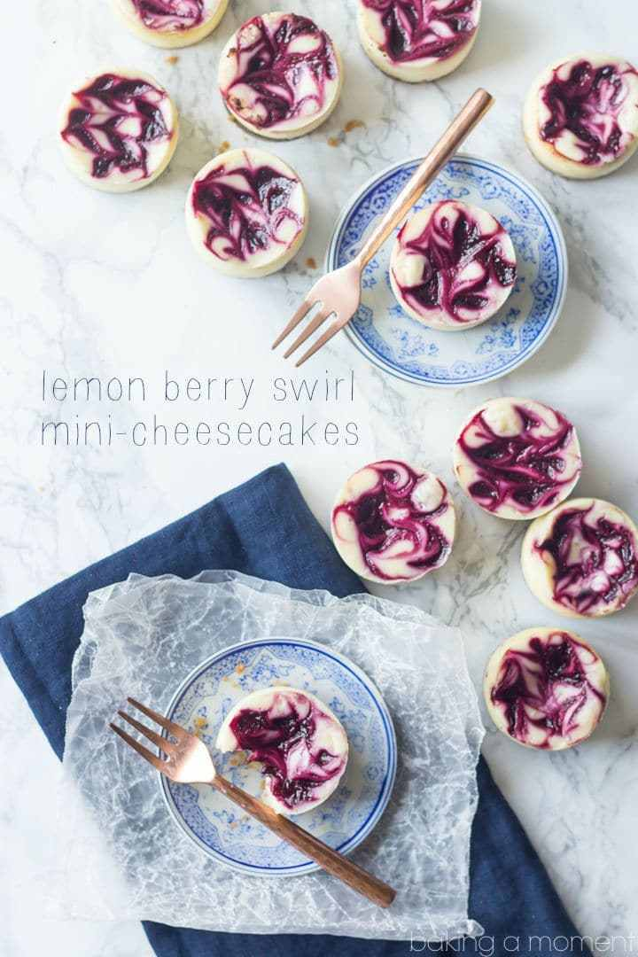 Best Lemon Berry Swirl Mini-Cheesecakes