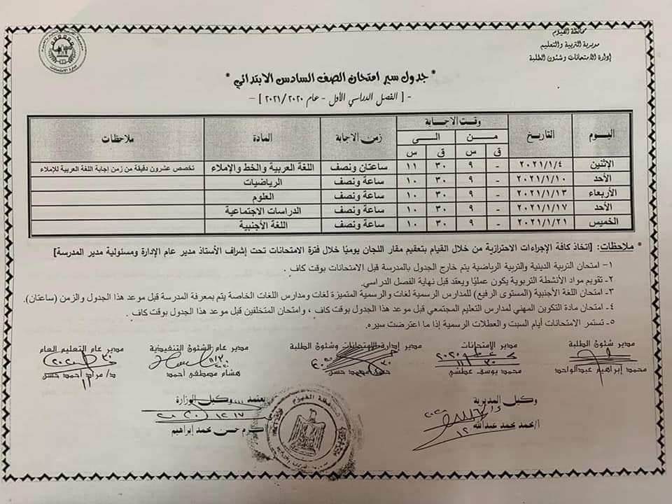 جدول إمتحانات صف سادس ابتدائي 2021 ترم أول محافظة الفيوم