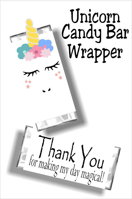 Say thank you at your Unicorn party with this fun candy bar wrapper printable. You will love this cute unicorn face and your guests will love this party favor and party thank you. #unicornparty #unicorncandybarwrapper #unicornpartyfavor #diypartymomblog