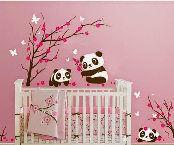panda decor Nursery Design with Wall stickers