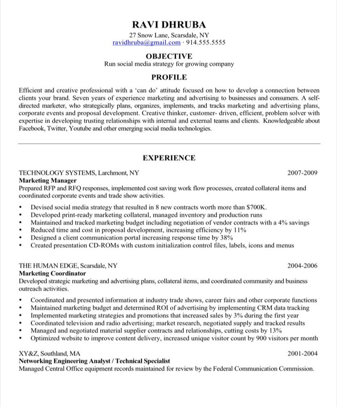 social media marketing resume sample