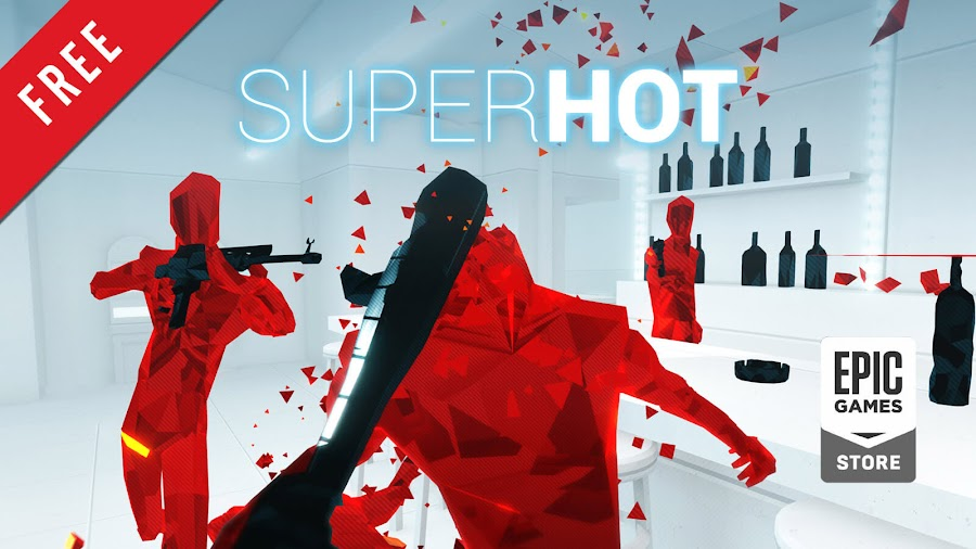 superhot free pc game epic games store indie first-person shooter strategy minimalist art style
