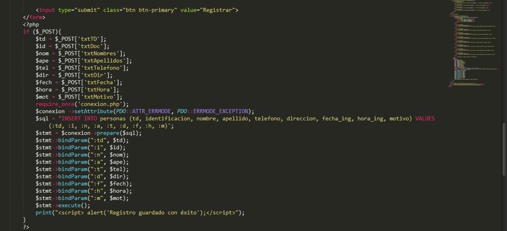 Registro de personas en Php código