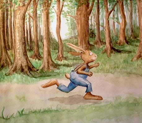 Kinderbuchillustration Hase