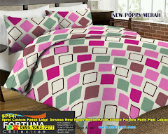 Sprei Custom Katun Lokal Dewasa New Poppy Merah Kotak Simple Pattern Purih Pink Coklat