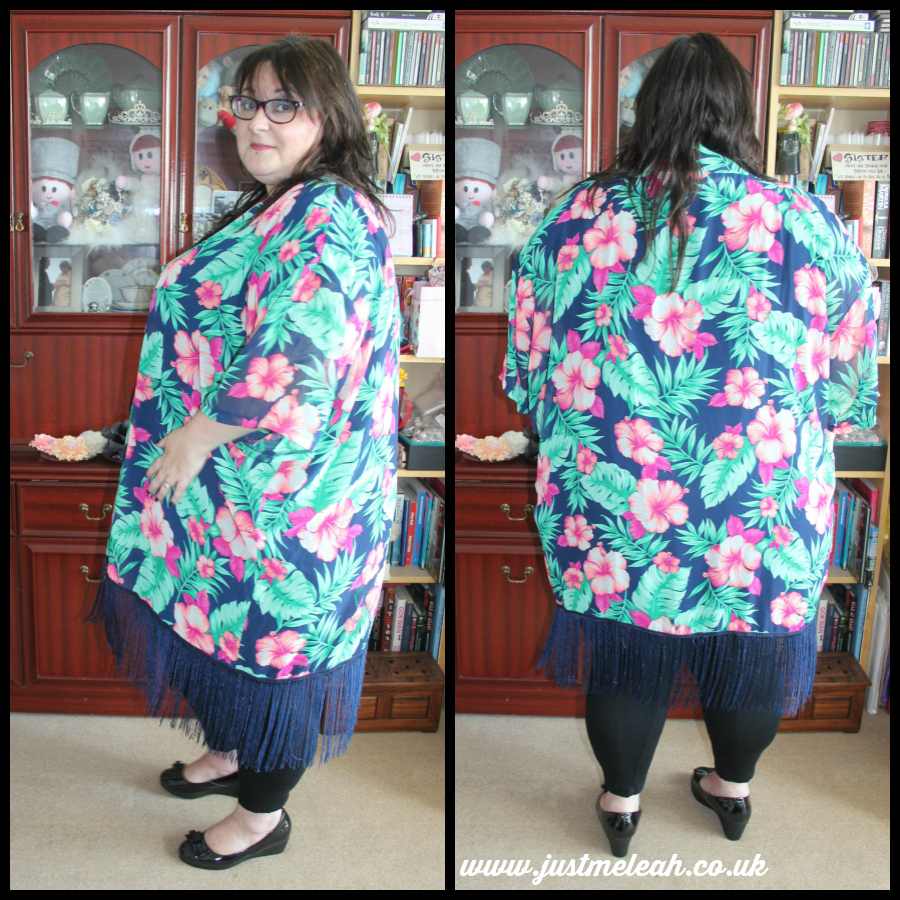 Yours Multi Tropical Print Sheer Kimono Shrug With Fringed Hem