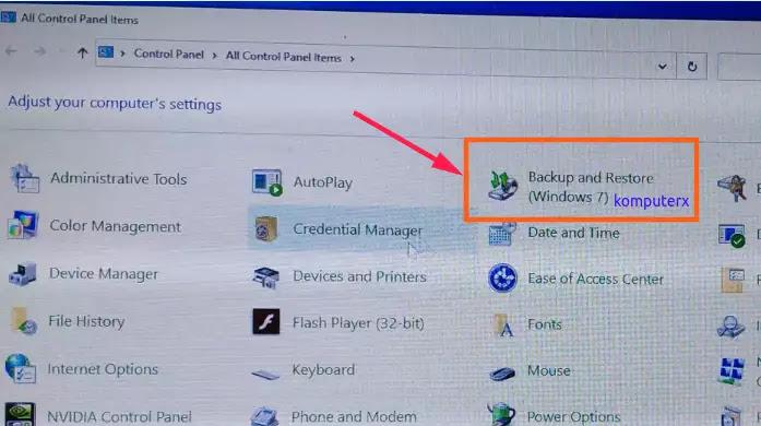 control panel backup restore windows 10
