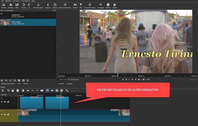 riutilizzare i filtri per altri progetti video con shotcut