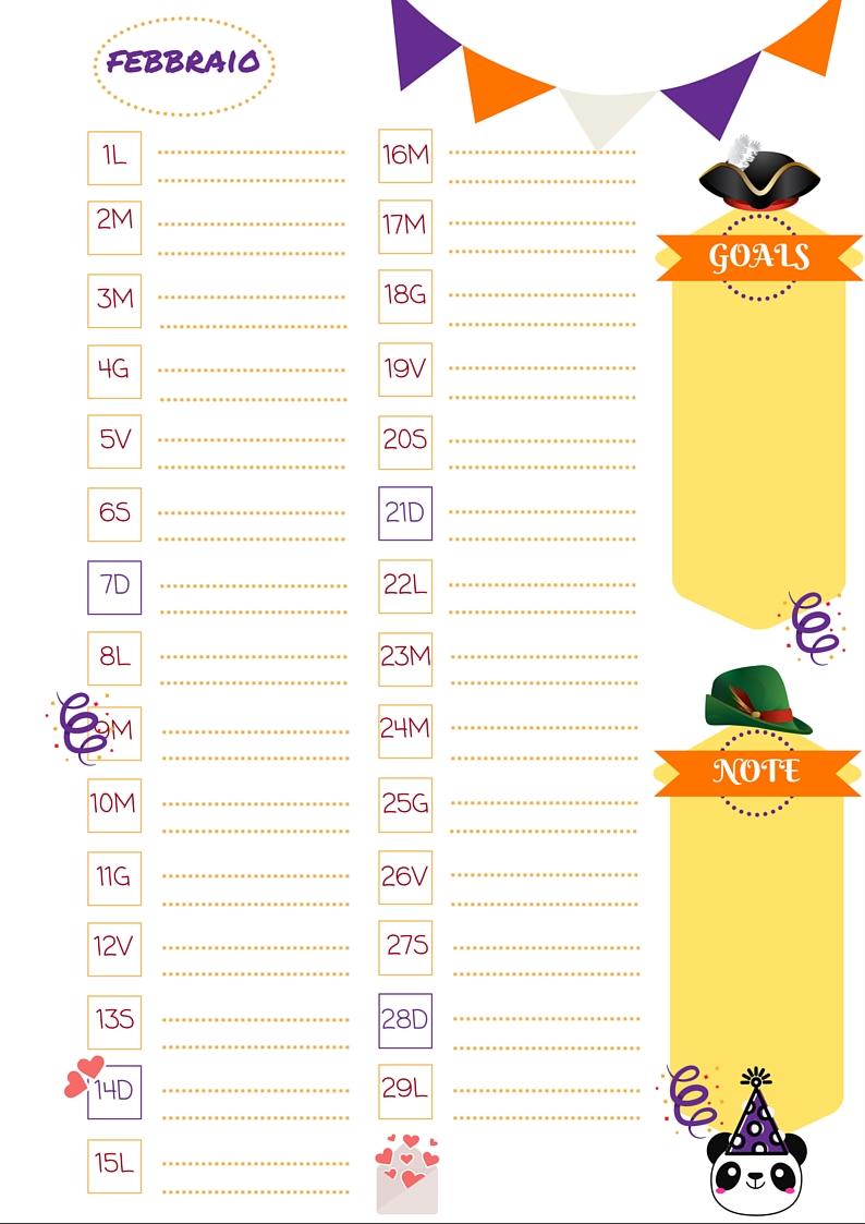 Molto Nata disorganizzata: Refill gratuiti per l'agenda: il mese di  YJ02