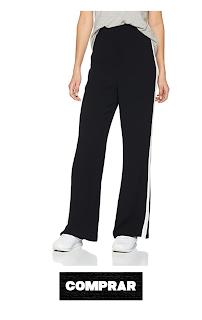 Pantalon Negro palazzo con franja blanca para mujer