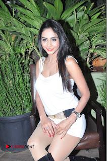 Actress Model Pooja Sri Stills in White Short Dress at F Club pre soft Launch  0118.JPG