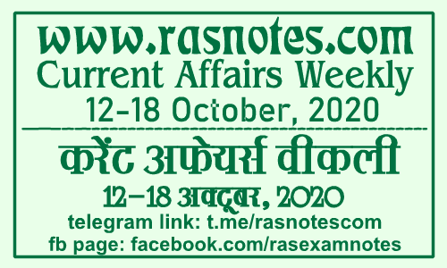 Current Affairs GK Weekly October 2020 (12-18 September) in hindi pdf