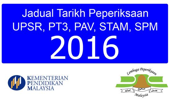 Tarikh Exam UPSR, PT3, PAV, STAM, SPM 2016
