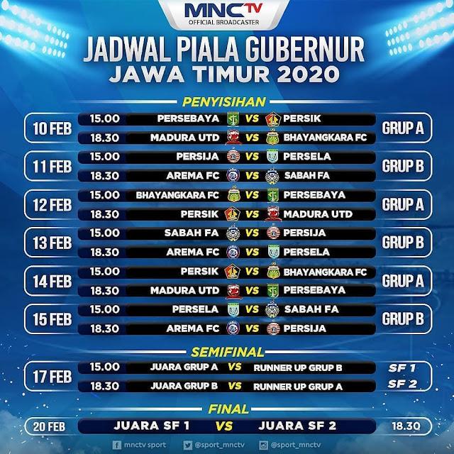 Jadwal Pertandingan Piala Gubernur Jawa Timur 2020