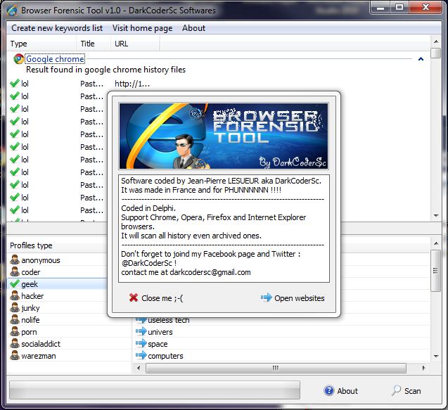 Browser Forensic Tool v2.0 - Advanced browser history search engine