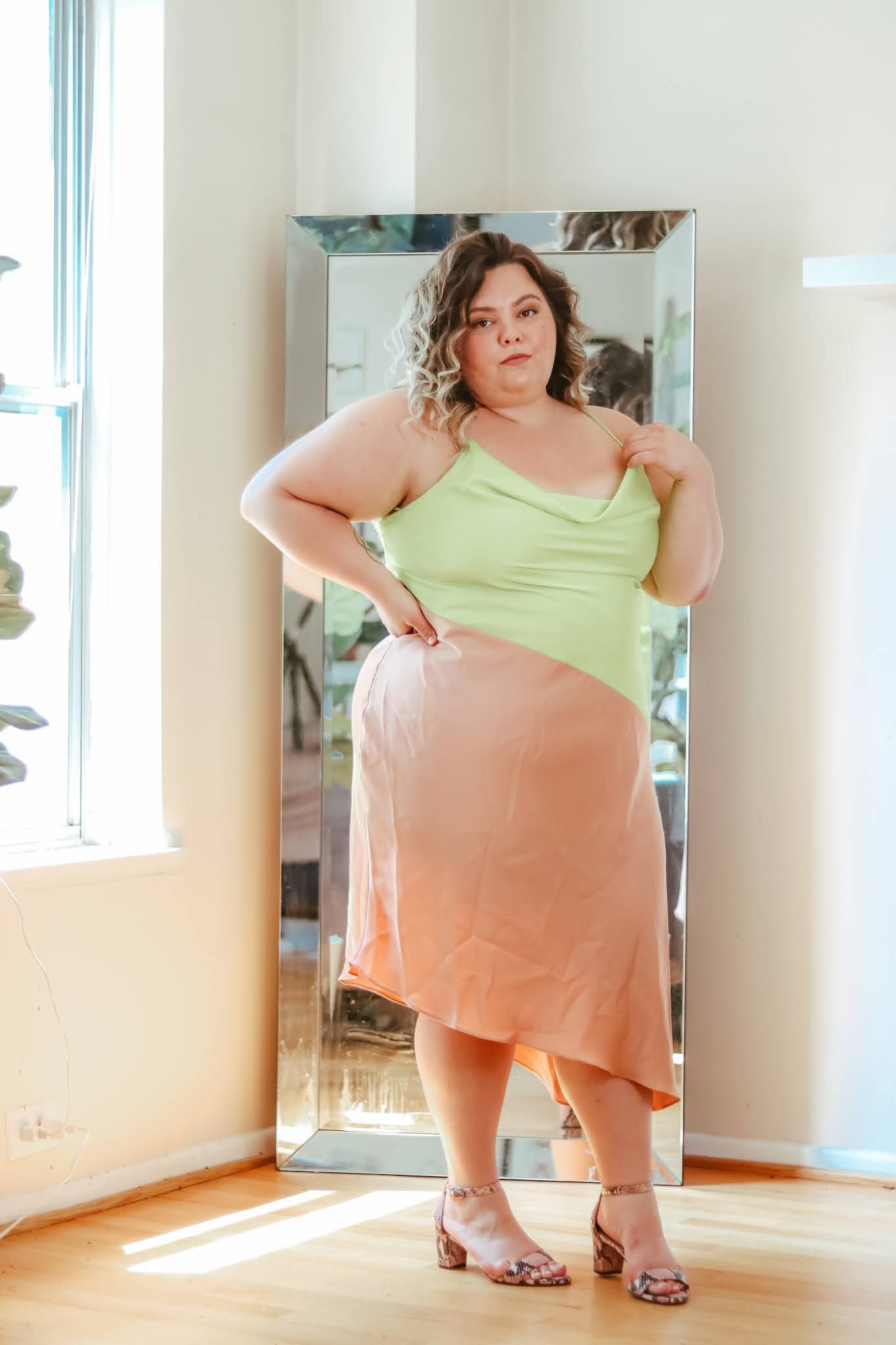 Chicago Plus Size Petite Fashion Blogger, Natalie Craig, of Natalie in the City, reviews plus size slip dresses.