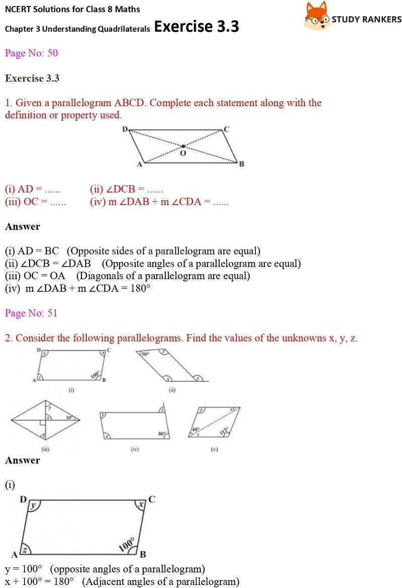 NCERT Solutions for Class 8 Maths Ch 3 Understanding Quadrilaterals Exercise 3.3 1