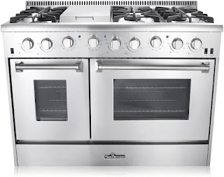 Thor Kitchen HRG4808U 48 in. Freestanding Professional Style Gas Range with Double Oven, 6 Burners, Convection Fan, Cast Iron Grates, and Blue Porcelain Oven