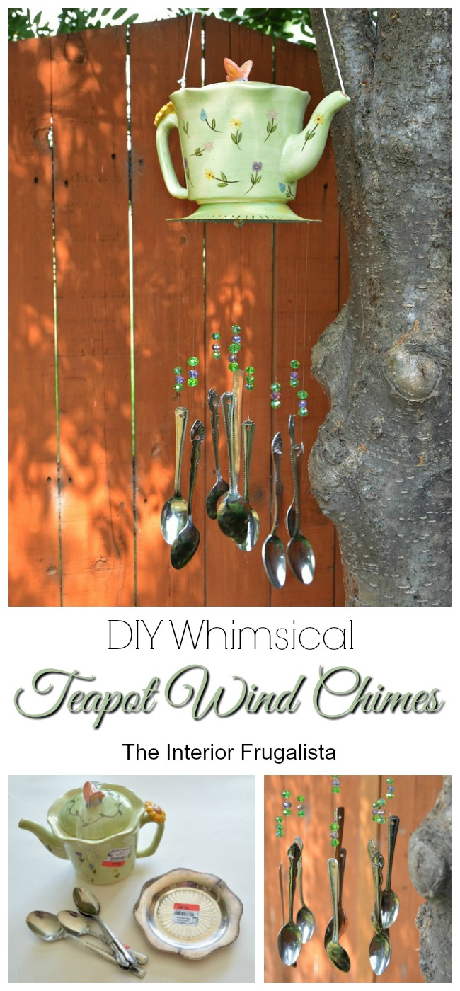 DIY Whimsical Teapot Wind Chimes Before and After