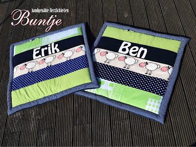 Krabbeldecke Decke Kuscheldecke Baby Name Zwillinge Ben Erik Junge blau dunkelblau grün Schafe Sterne Punkte Karo handmade nähe Buntje