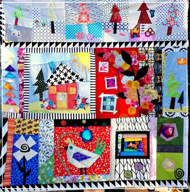 Puppilalla, Round Robin Quilt, Rakish Needle Robin, Foundation Paper Piecing, Applique , Freddy Moran
