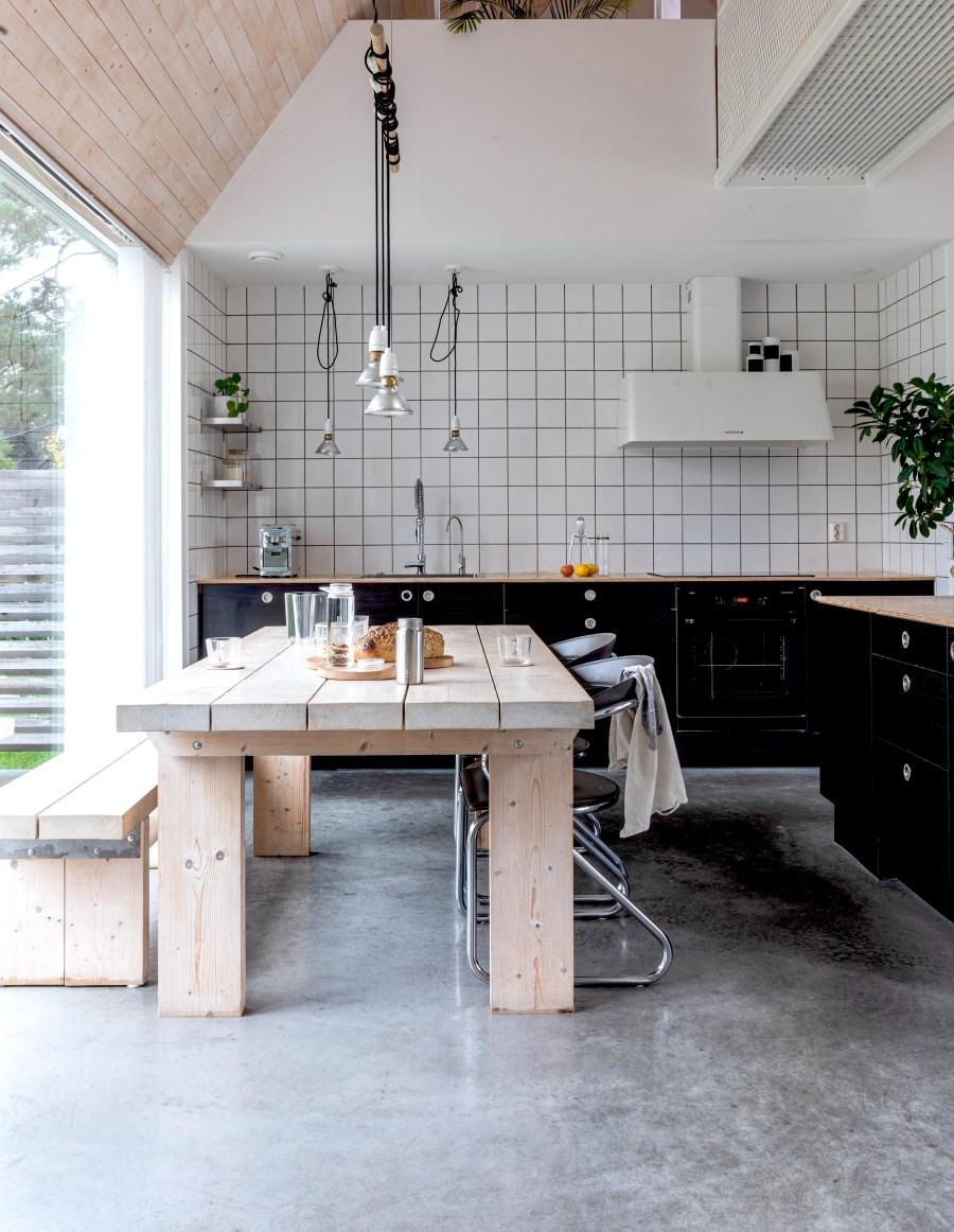 Cucina senza pensili stile scandinavo