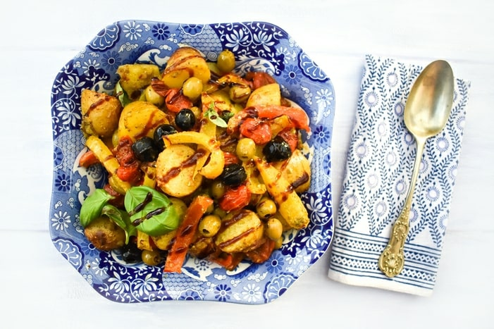 Mediterranean Potato Bake with Peppers & Olives