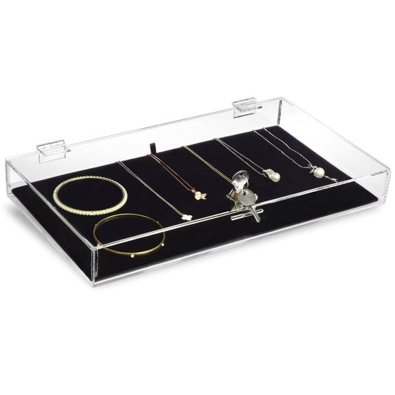 #TRJ2656 Acrylic Marketing Holder Locking Showcase Box Display Tray for Watches Jewelry Collector Knives with a Key