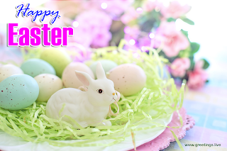 Pictures of Easter bunny with Happy Easter Message Easter Eggs and Flowers