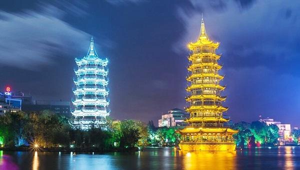 เจดีย์คู่สุริยันจันทรา (Sun & Moon Twin Pagodas: 日月双塔) @ www.qunar.com