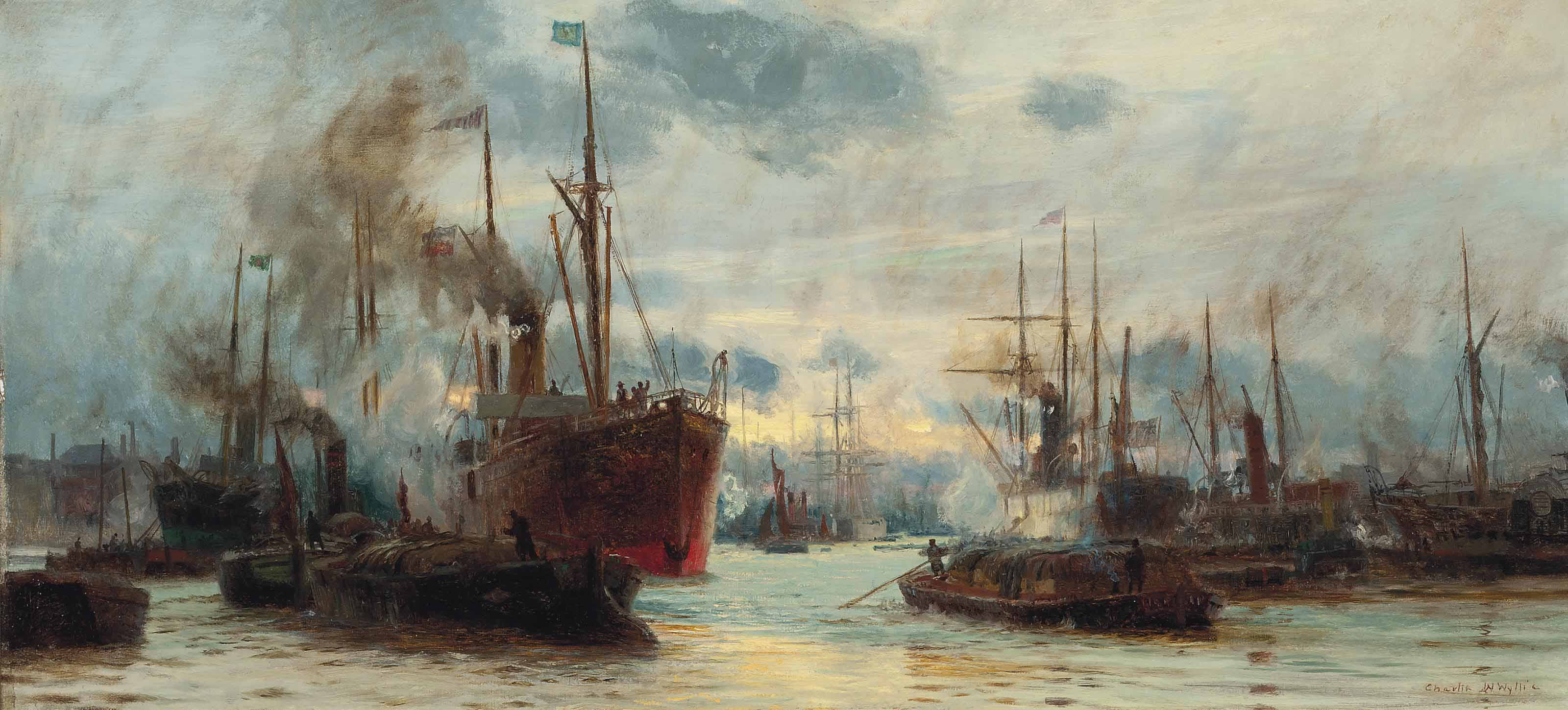 Charles BWilliam BWyllie Congested waters on the thames