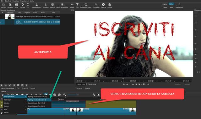 video trasparente posizionato sopra ad altro filmato