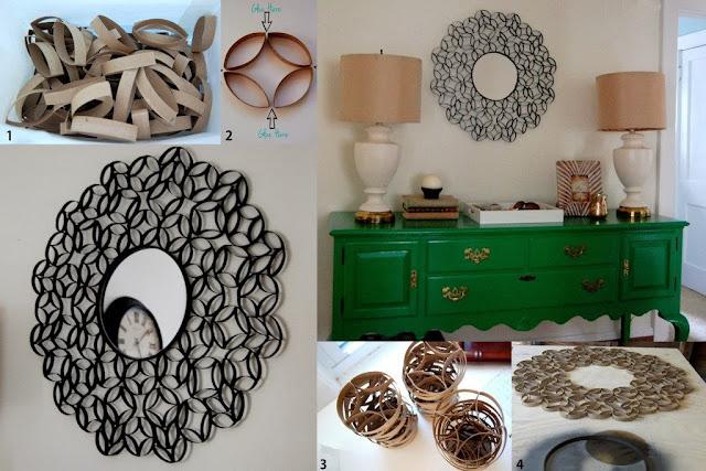 decoração reciclada rolinho papel higienico moldura espelho