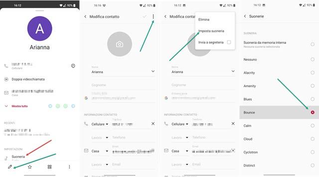 personalizzare le suonerie dei singoli contatti su android