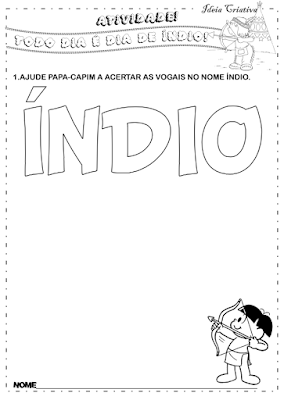 Atividade dia do índio para imprimir vogais