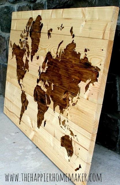 النتيجة النهائية للخريطة على اللوح الخشبي
